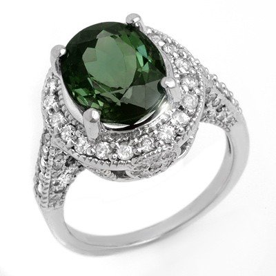 Genuine 6.0ctw Green Tourmaline & Diamond Ring 14K Gold