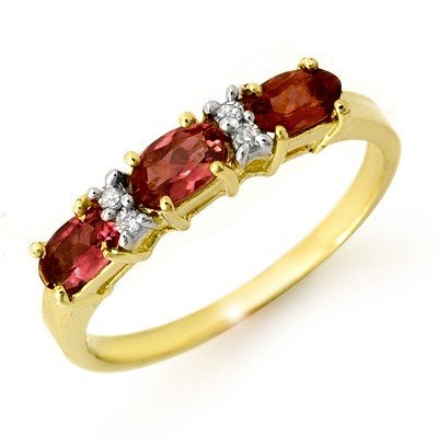 Genuine 0.83ctw Pink Tourmaline & Diamond Ring 10K Gold