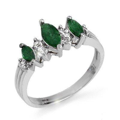 Genuine 1.0 ctw Emerald & Diamond Ring 10K White Gold