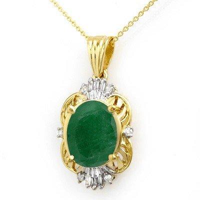 Genuine 5.88 ctw Emerald & Diamond Pendant Yellow Gold