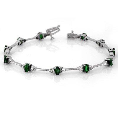 Genuine 2.30 ctw Emerald & Diamond Bracelet White Gold