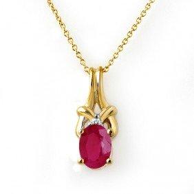 Genuine 1.22 Ctw Ruby & Diamond Pendant Yellow Gold