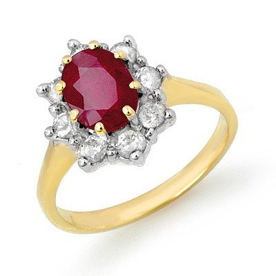 Genuine 2.35 ctw Ruby & Diamond Ring 10k Gold