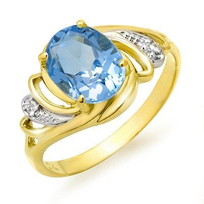 Genuine 2.53 ctw Blue Topaz & Diamond Ring 10K Gold