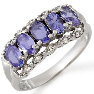 Genuine 1.80 ctw Tanzanite & Diamond Ring 10K Gold