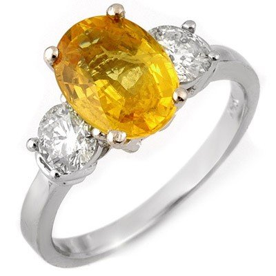 Genuine 3.75 ctw Yellow Sapphire & Diamond Ring 14K Whi