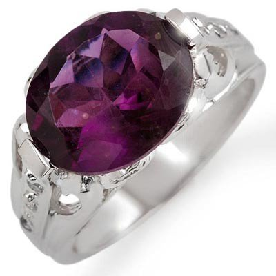 Genuine 4.30ctw Amethyst & Diamond Ring 10K White Gold