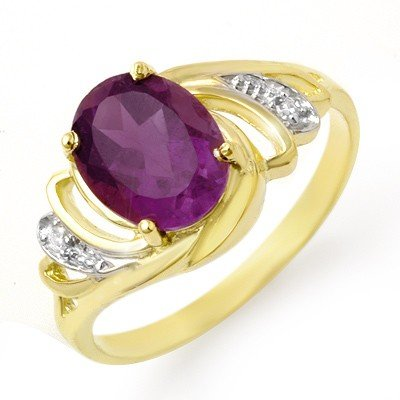 Genuine 1.48 ctw Amethyst & Diamond Ring 10K Yellow Gol