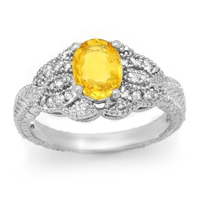 Genuine 2.05ctw Yellow Sapphire & Diamond Ring 14K Gold