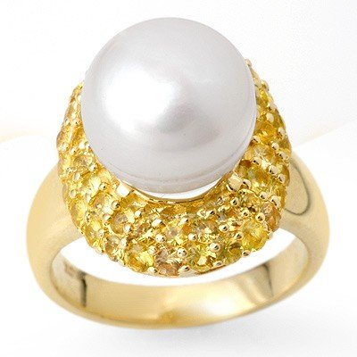 Genuine 2.0 ctw Yellow Sapphire & Pearl Ring 10K Yellow