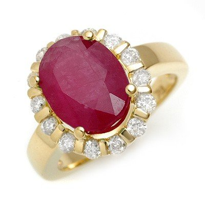Genuine 4.65 ctw Ruby & Diamond Ring 10K Yellow Gold