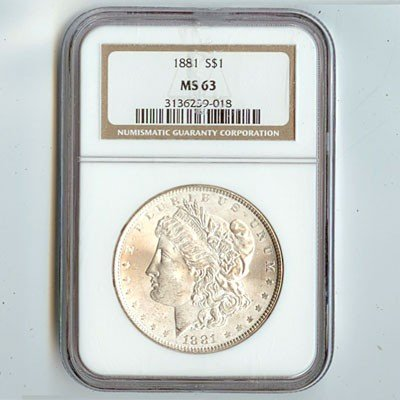 1881 Morgan Silver Dollar NGC Certified MS63