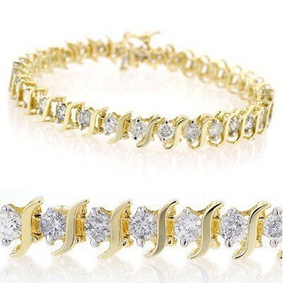 Natural 8.0 ctw Diamond Bracelet 14K Yellow Gold
