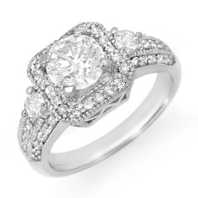 Natural 2.0 ctw Diamond Engagement Ring 14K White Gold