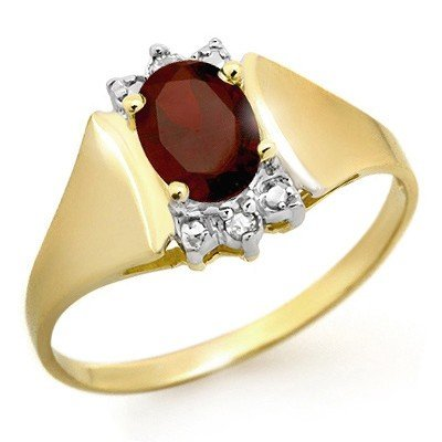 Genuine 1.03 ctw Garnet & Diamond Ring 10K Yellow Gold
