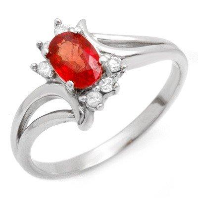 Genuine 0.70 ctw Red Sapphire & Diamond Ring 10K Gold