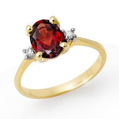 Genuine 1.54 ctw Garnet & Diamond Ring 10K Yellow Gold