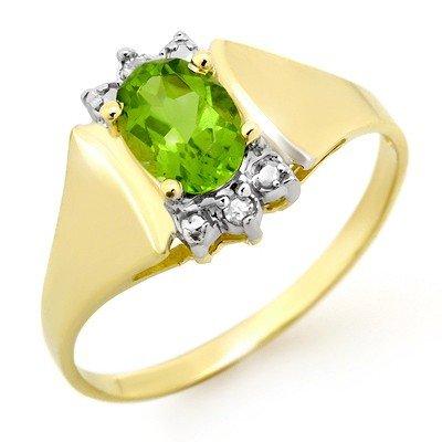 Genuine 1.28 ctw Peridot & Diamond Ring 10K Yellow Gold