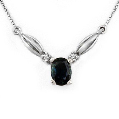 Genuine 1.30 ctw Blue Sapphire & Diamond Necklace Gold