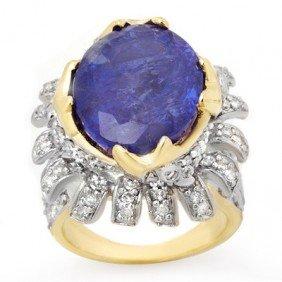 Genuine 12.75ctw Tanzanite & Diamond Ring 14K Yellow Go