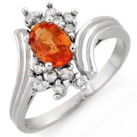 Genuine 1.0ctw Orange Sapphire & Diamond Ring 10K Gold