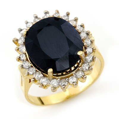 Genuine 14.1 ctw Sapphire & Diamond Ring Yellow Gold