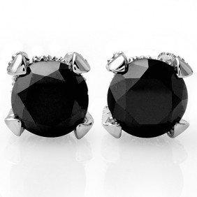 Natural 3.75 Ctw White & Black Diamond Earrings 14K Gol