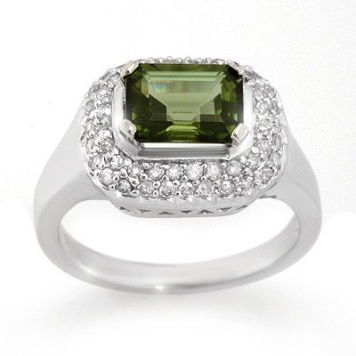 Genuine 2.40ctw Green Tourmaline & Diamond Ring Gold