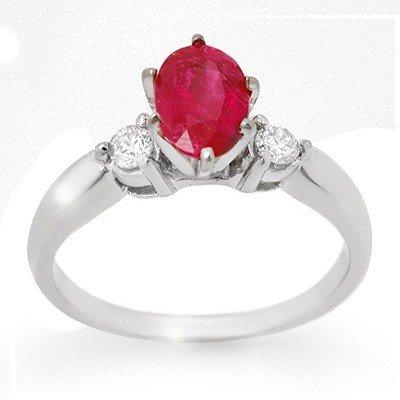 Genuine 1.45 ctw Ruby & Diamond Ring 14K White Gold