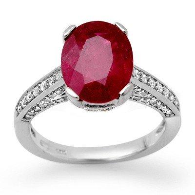 Genuine 2.80 ctw Ruby & Diamond Ring 14K White Gold