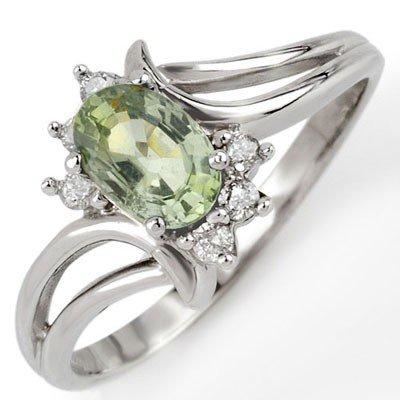 Genuine 0.70 ctw Green Sapphire & Diamond Ring 10K Gold