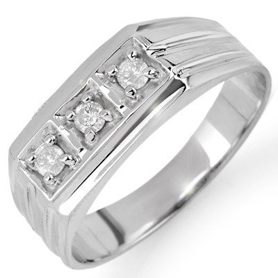 Natural 0.20 ctw Diamond Men's Ring 10K White Gold