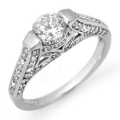 Natural 1.40 ctw Diamond Ring 14K White Gold