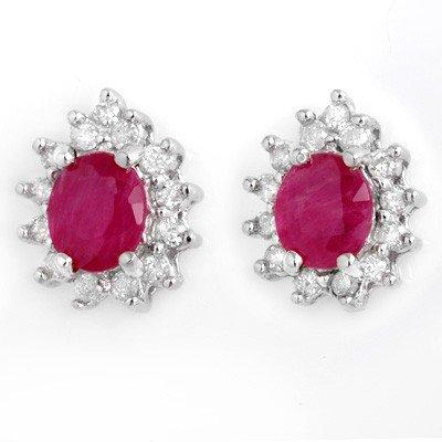 Genuine 4.44 ctw Ruby & Diamond Earrings White Gold