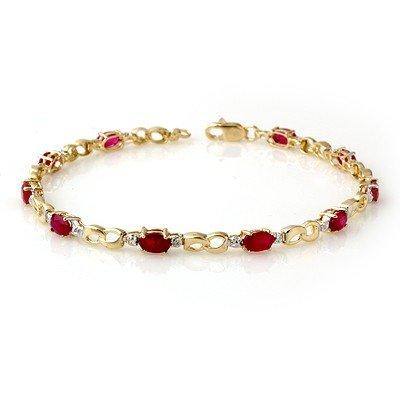 Genuine 3.76 ctw Ruby & Diamond Bracelet Yellow Gold
