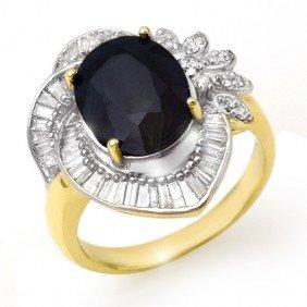 Genuine 5.55ctw Sapphire & Diamond Ring 14K Yellow Gold