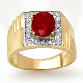 Genuine 2.25 Ctw Ruby & Diamond Men's Ring Yellow Gold