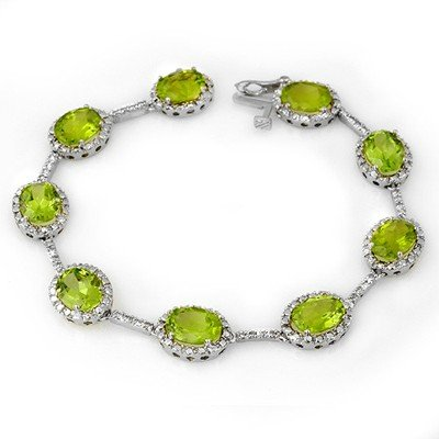 Genuine 20.33 ctw Peridot & Diamond Bracelet White Gold