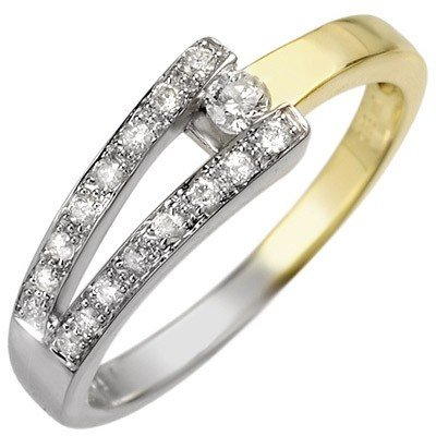 Natural 0.30 ctw Diamond Ring 10k 2-Tone Gold