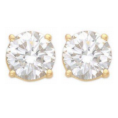 Natural 1.25 ctw Diamond Stud Earrings 14K Yellow Gold