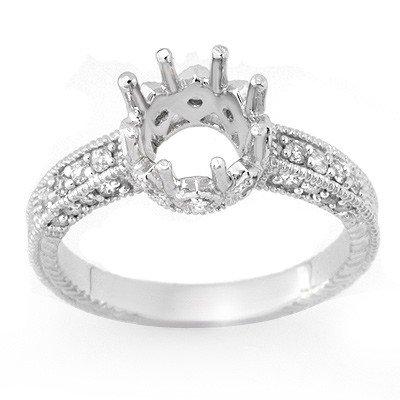 Natural 0.50 ctw Diamond Semi-mount Ring 14K White Gold