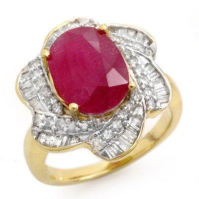 Genuine 6.95 ctw Ruby & Diamond Ring 14K Yellow Gold