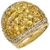 Genuine 575ctw Yellow Sapphire  Diamond Ring 14K Gold