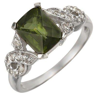 Genuine 1.75ct Green Tourmaline & Diamond Ring 10K Gold