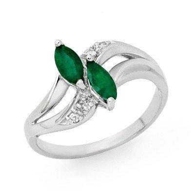 Genuine 0.45 ctw Emerald & Diamond Ring 10K White Gold