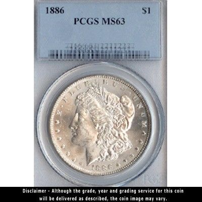 1886 Morgan Silver Dollar PCGS Certified MS63