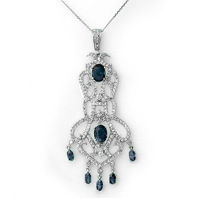 Genuine 8.15 ctw Sapphire & Diamond Necklace 14K Gold