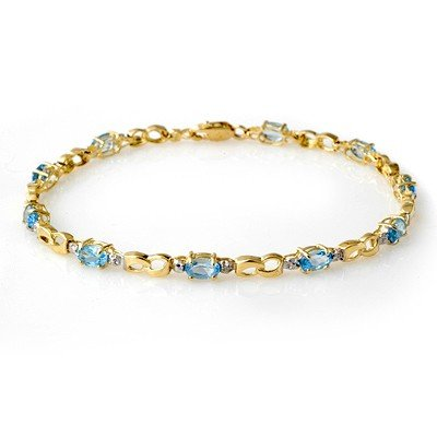 Genuine 2.76 ctw Blue Topaz & Diamond Bracelet 10K Gold