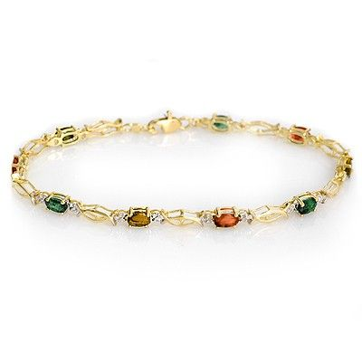 Genuine 3.0 ctw Multi-Sapphire Bracelet 10K Yellow Gold