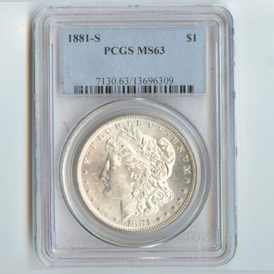 1881-S Morgan Silver Dollar PCGS Certified MS63